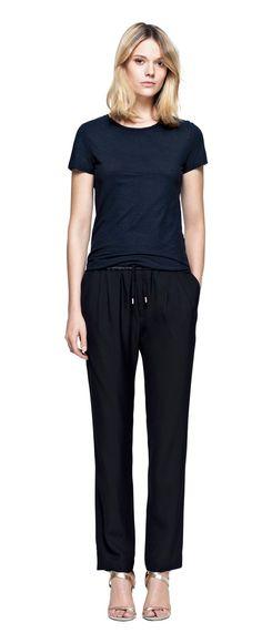 for long flights...Drapey Tuxedo Pants | Trousers | Woman | Filippa K
