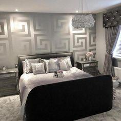 Black And Silver Living Room, Black And Grey Bedroom, Silver Room, Dark Purple Bedrooms, Room Ideas Bedroom, Home Decor Bedroom, Living Room Decor, Bedroom Signs, Kids Bedroom