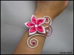 Bracelet bijou fleur satin rose fushia blanc aluminium mariage - bijoux et accessoires de mariage CASCADE-NACREE