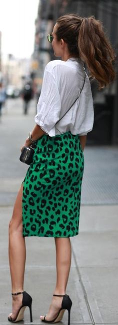 Lush Mid Length Body Con All Over Leopard Print Skirt With Front Side Slit