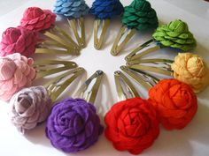 "PICK FOUR 1"" Flower Clips - Art Deco RickRack Roses on Snap Clips, $15"