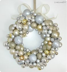 silver and gold christmas ornament wreath- I NEED!