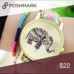✨Weave Dreamer Elephant Bohemian Wristwatch Condition: New without tags Movement: Quartz : Battery Gender: Women's Display: Analog Type: Casual Bracelet Wrist Watch Features: Easy To Read Case Material: Alloy Band Material: Knitting Band Length: 22 cm Watch Case Diameter: 3.75 cm Watch Case Thickness: 0.6 cm  Case Shape: Round Weight: 25 - 30 g Accessories Watches