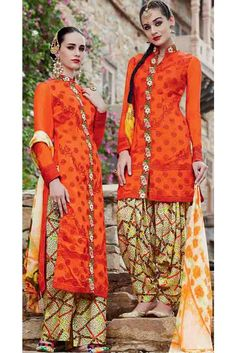 Vivacious Orange Cotton Embroidered Patiala Salwar Kameez