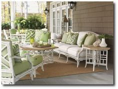 White Bamboo Outdoor Furniture, I like this for the porch
