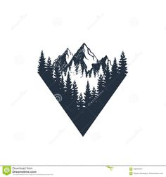 Illustration about Hand drawn travel badge with fir trees and mountains textured vector illustrations. Illustration of handcrafted, isolated, holiday - 108721971 Cute Tattoos, Body Art Tattoos, Small Tattoos, Sleeve Tattoos, Tattoos For Guys, Forest Tattoos, Nature Tattoos, Tattoo Sketches, Tattoo Drawings