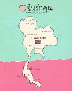 I Love You in Thailand // Typographic Print Maps por LisaBarbero