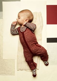 aw15: Deep earth tones in the  baby's rust knit one-piece from Kidscase. www.lepassageshowroom.com, www.kidscase.com