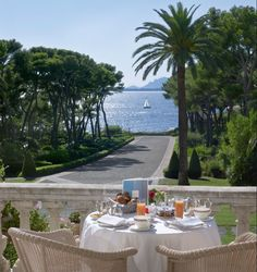 Breakfast at Hotel du Cap-Eden-Roc, Cap d'Antibes, France. Two weeks every summer. Paradise on Earth!
