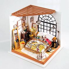 1/12 scale dollhouse bedroom diorama kit to make for yourself. #ad #miniature #dollhouse #diy