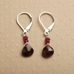garnet earrings silver leverback earrings january by izuly on Etsy, $34.00