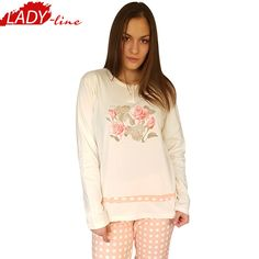 Poze Pijamale Dama Maneca Lunga, Model La Vie en Rose, Brand Italian Fashion Design, Material Bumbac 100% Interlock, Culoare Roz, Pijamale Dama Calitate 100%