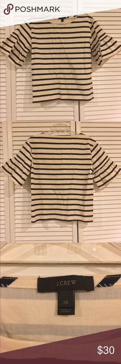 J. Crew Ruffle-Sleeve Striped Top J. Crew Ruffle-Sleeve Striped Top in excellent condition. Worn once. J. Crew Tops