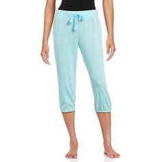 Roudelain Women's Cropped Drawstring Lounge Pants ($11) ❤ liked on Polyvore featuring pants, capris, blue, blue trousers, drawstring waist pants, blue crop pants, elastic cuff pants and plus size trousers
