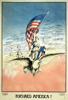 WWI Forward America Carroll Kelly 1917 Wright Henry Worth Inc Canvas Art - x American History, American Flag, American Pride, Ww1 Posters, Political Posters, Political Cartoons, Propaganda Art, Thing 1, World War One