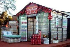 Plastic bottle house.