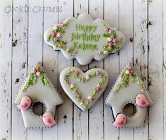 Spring birdhouse, delicate plaques by Mint Lemonade (Cookie Crumbs) posted on Cookie Connection