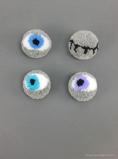 pompoms tutorial pompom eyes - Halloween Pom Poms