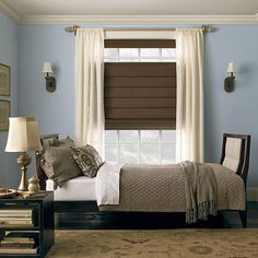 Cordless Shades  Beautiful fabrics on cordless Roman shades from Levolor add texture and color to any room. Lightweight sheers add a finished look.