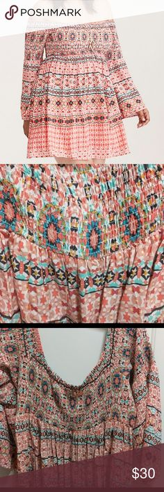 Torrid Smocked bell sleeve dress I absolutely love this dress, unfortunately at 6' tall it was too short ☹️  🌟Smoke free home 🌟No trades Torrid Dresses Mini