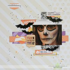 Trick Or Treat Halloween Layout - Scrapbook.com - Ultra Thick Embossing Enamel (UTEE) creates a raised glossy look on the bats.