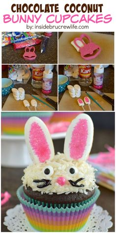 This easy to make bunny face makes these chocolate coconut cupcakes an adorable treat for Easter.