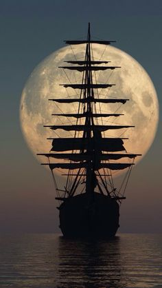 sail away .sail away.sail away Tall Ships, Moon Pictures, Moon Photos, Images Photos, Nature Pictures, Pirate Life, Beautiful Moon, Beautiful Scenery, Beautiful Things