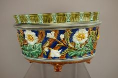 French majolica oval footed jardiniere with floral motif