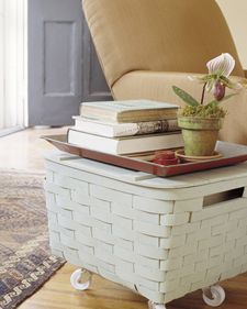 An old picnic basket from your local thrift store, cream spray paint and casters. How easy is this? Great for blanket or magazine storage. Try it in a guest room or next to your favorite reading chair. From Martha Stewart.