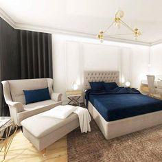 Projekt Iness-sypialnia elegancka z granatowymi dodatkami-sztukateria-pikowane łóżko Glamour, Bed, Furniture, Home Decor, Decoration Home, Room Decor, Home Furniture, Interior Design, Beds