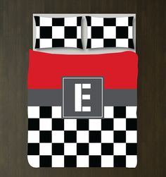 Race Car Bedding Set-duvet Cover-shams-red, Black, White, Charcoal…