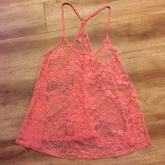 Lace Tank Top Pink lace floral tank top H&M Tops Tank Tops