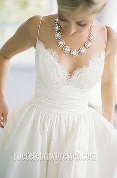 Celebrity Inspired Classic Spaghetti Straps A-Line Wedding Dress - TheCelebrityDresses