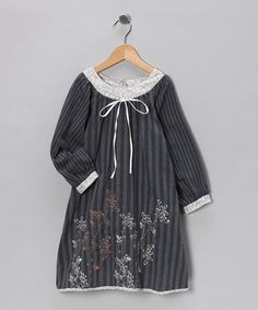 Take a look at this Gray Stipe Jasmine Dress - Toddler & Girls by Sophie Catalou on #zulily today!