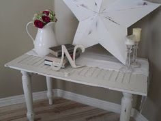 repurposed cabinet door into a cute little table