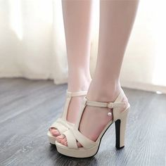 36f054e9111 Buy Summer Women Sandals Fashion Thick High Heels Party Shoes T-Strap Rome  Style Ladies