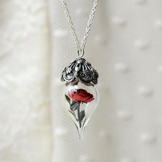 Classic Red Rose Flower Glass Vial Terrarium Necklace by Woodland Belle Mothers Day Gift. $148.00, via Etsy.