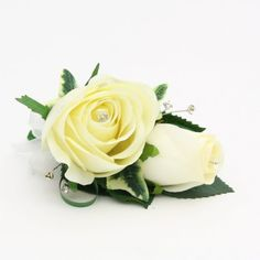 Artificial Silk Wedding Flowers - Ivory Rose Corsage with Diamantes
