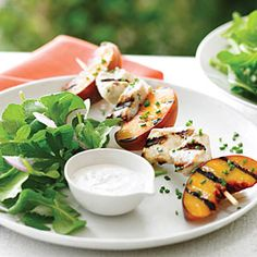 Grilled Chicken and Peach Kebab Salad | MyRecipes.com