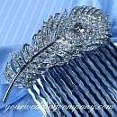 Swarovski Crystal Feather Hair Comb (5 colors)
