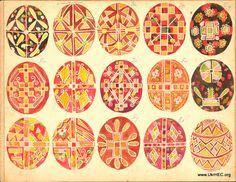 Watercolors of pysanka designs. Early 20th century.