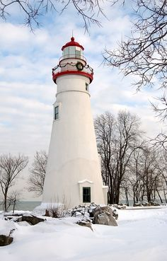 Lighthouse decorated for Christmas Holiday in Marblehead, MA.