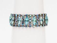 Turquoise Rhinestone Bracelet  Vintage 1950s by TheBirdcageVintage