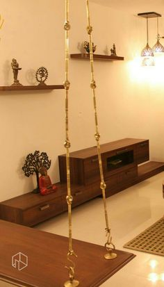 Traditional Indian wooden swing - bench
