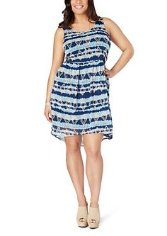 Plus Navy Folklore Surplice Back Dress | rue21