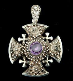Enormous Hallmarked 1000 STERLING Jerusalem Cross Pendant, Amethyst from sunnysidefarmsantiques on Ruby Lane