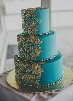 Teal & Gold Indian Wedding Cake