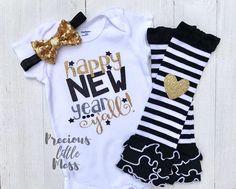 Black L//S Bodysuit My 1ST New Year 2018 Gold Bling Sequins Girl Baby Dress 0-18M