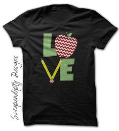 School Love Shirt - Back to School Outfit / Toddler Boys First Day of School Shirt / Womens Teacher Shirt / Kids Chevron Apple / Love School
