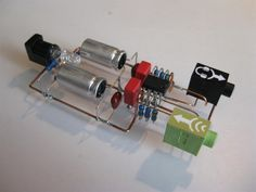 A handmade headphone amplifier soldered together without a circuit board, but component to component.